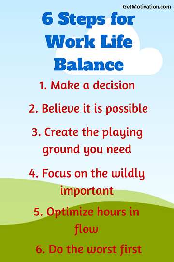 6 steps to work life balance infographic