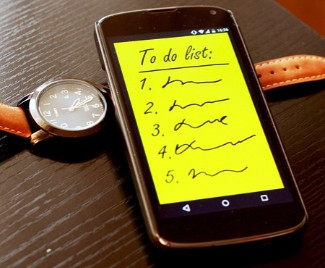 To do list on a smartphone
